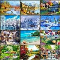 Peinture de diamant 5D bricolage-meme  broderie de paysage de Village rond en point de croix  mosaique de paysage dautomne  decor artistique de maison
