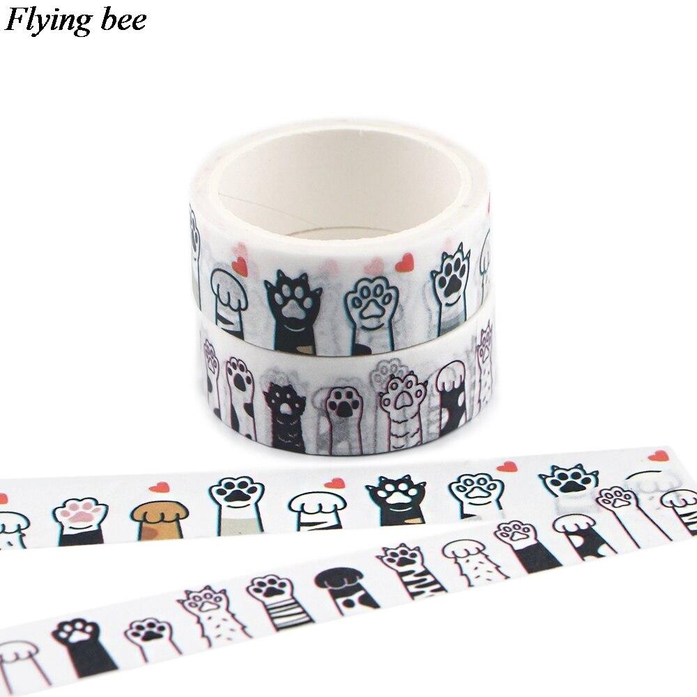 20 pçs/lote Flyingbee 15mm x 5m Pata Do Gato Kawaii Fita Adesiva De Papel Washi Tape DIY Fita Adesiva Scrapbooking Etiqueta autocolante X0888