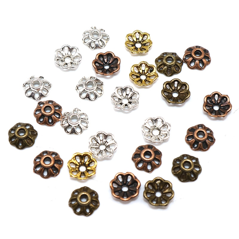 200pcs/lot Zinc Alloy Bead Caps Tibetan Silver Plated Flower Beads End Charms for Jewelry Making Supplies 8mm