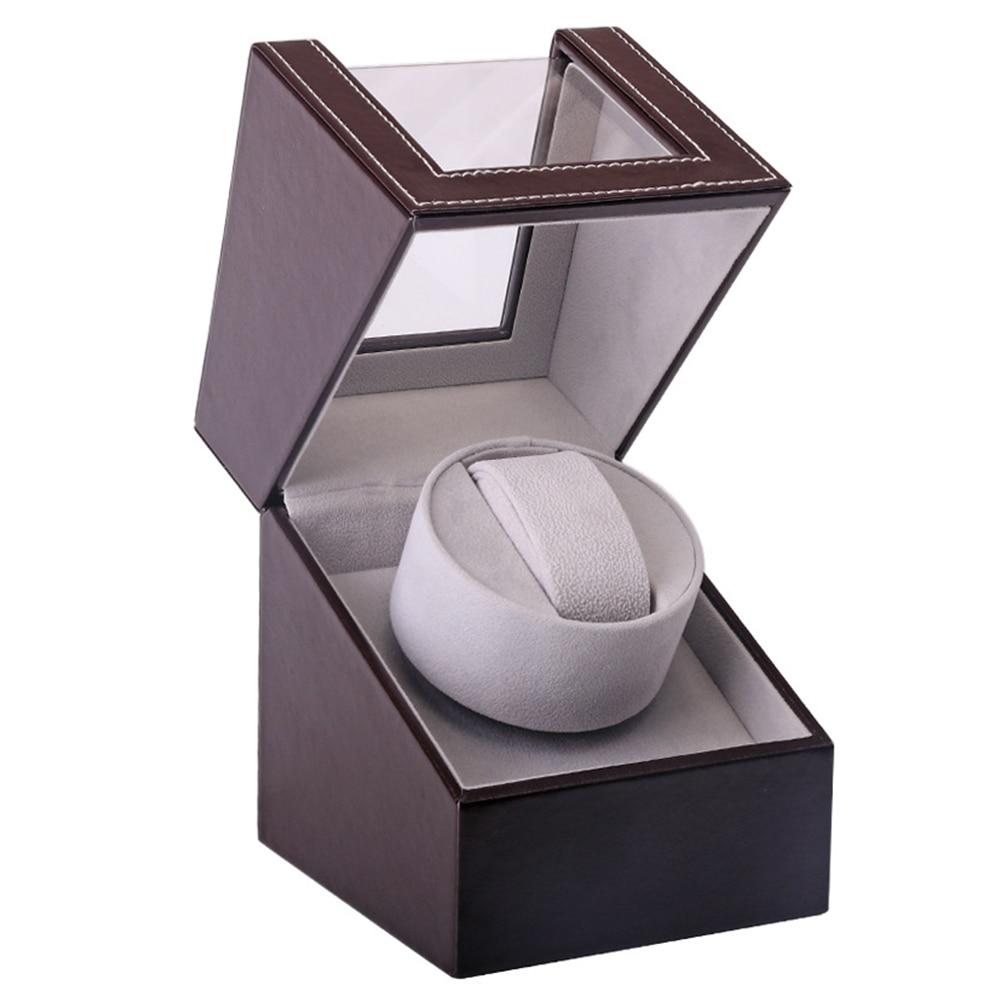 Caja de presentación organizadora automática mecánica Motor agitador reloj enrollador PU cuero de lujo cubierta transparente rotación CENTRO COMERCIAL