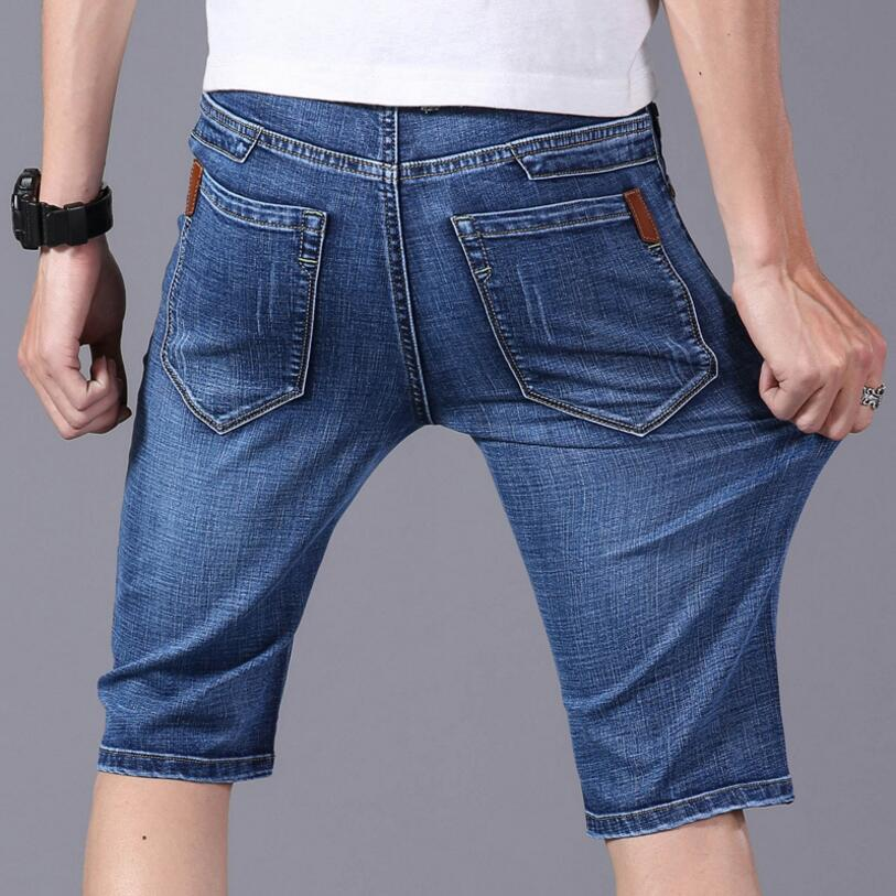 Мужские джинсовые шорты, синие однотонные прямые шорты из хлопка, повседневные короткие джинсы, 2021