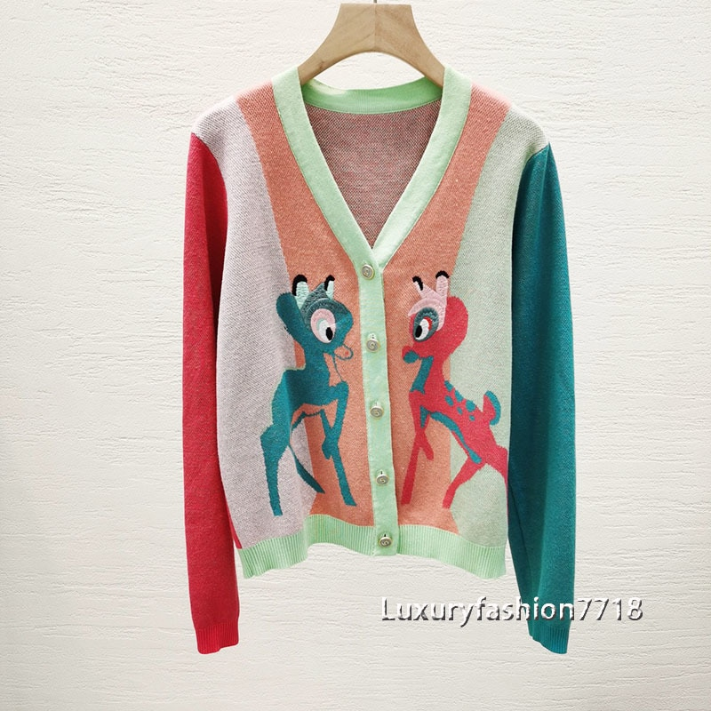 High quality fashion cardigan for women clothes Cartoon animal embroidery sweaters long sleeve sweater single breasted cardigans enlarge