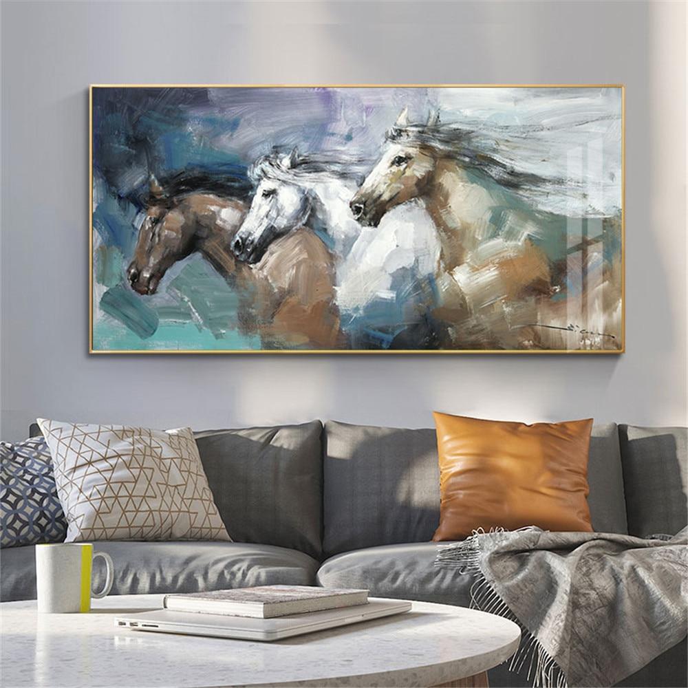 Pintados à Mão Pintura a Óleo sobre Tela Arte da Parede Pinturas para Sala de Estar Cavalo Animal Imagem Abstrata Moderna Decoração Casa 100%