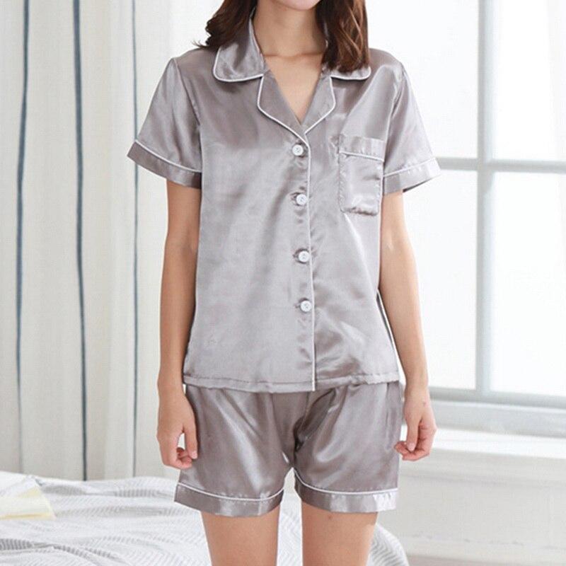 Женский пижамный комплект для девочек, шелковая атласная пижама, одежда для сна, домашняя одежда, одноцветная удобная мягкая Высококачественная популярная одежда