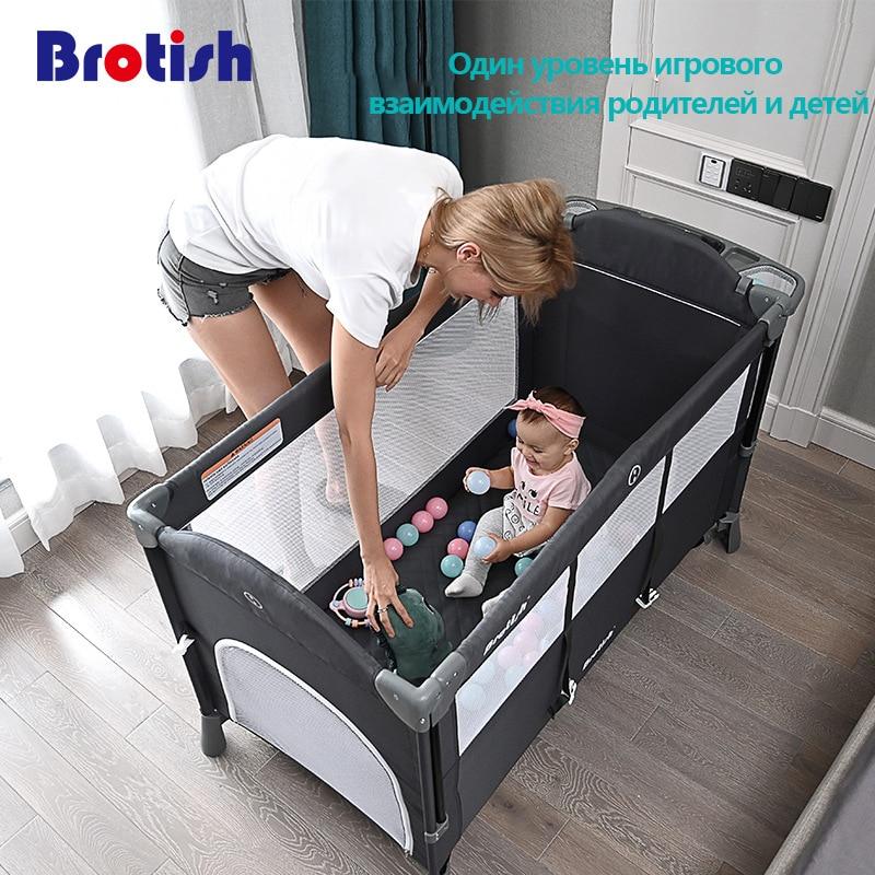 British Newborn multifunctional crib stitching bed, newborn cradle bed, game bed, portable folding crib easy to travel
