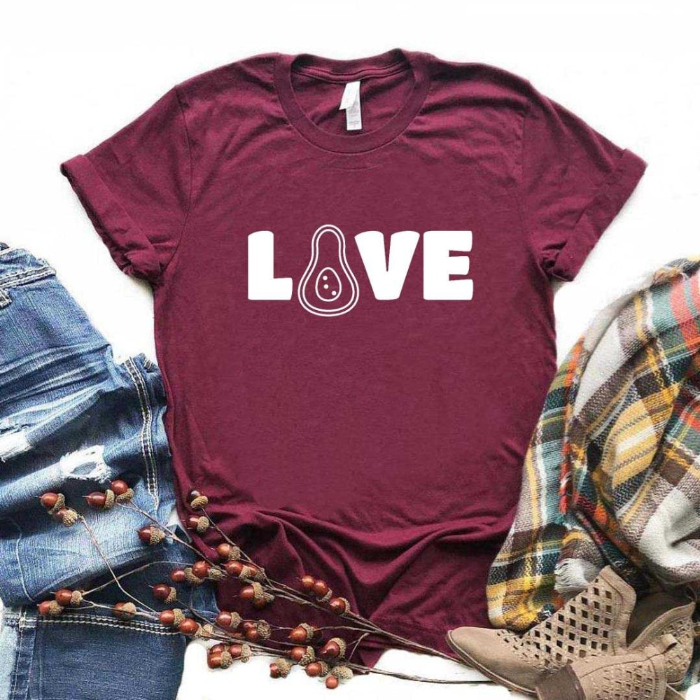 2020 nueva moda Primavera llegada amor aguacate mujeres camiseta algodón Casual divertida camiseta regalo señora Yong Girl Top Tee-L939