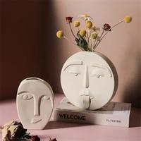 nordic style modern face mask ceramic vase home decoration flower vases head matte table flower vase for wedding decoration