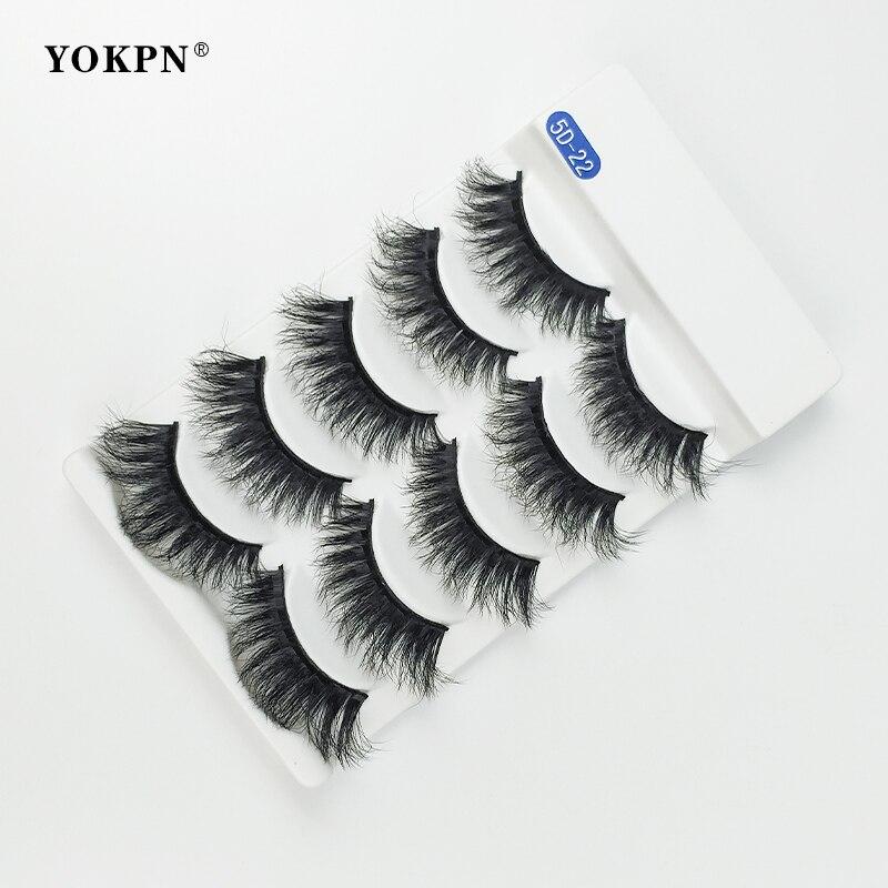 YOKPN nuevo pelo de visón 5D pestañas postizas pestañas largas naturales gruesas cruzadas tira completa pestañas de ojos hechos a mano 5 pares