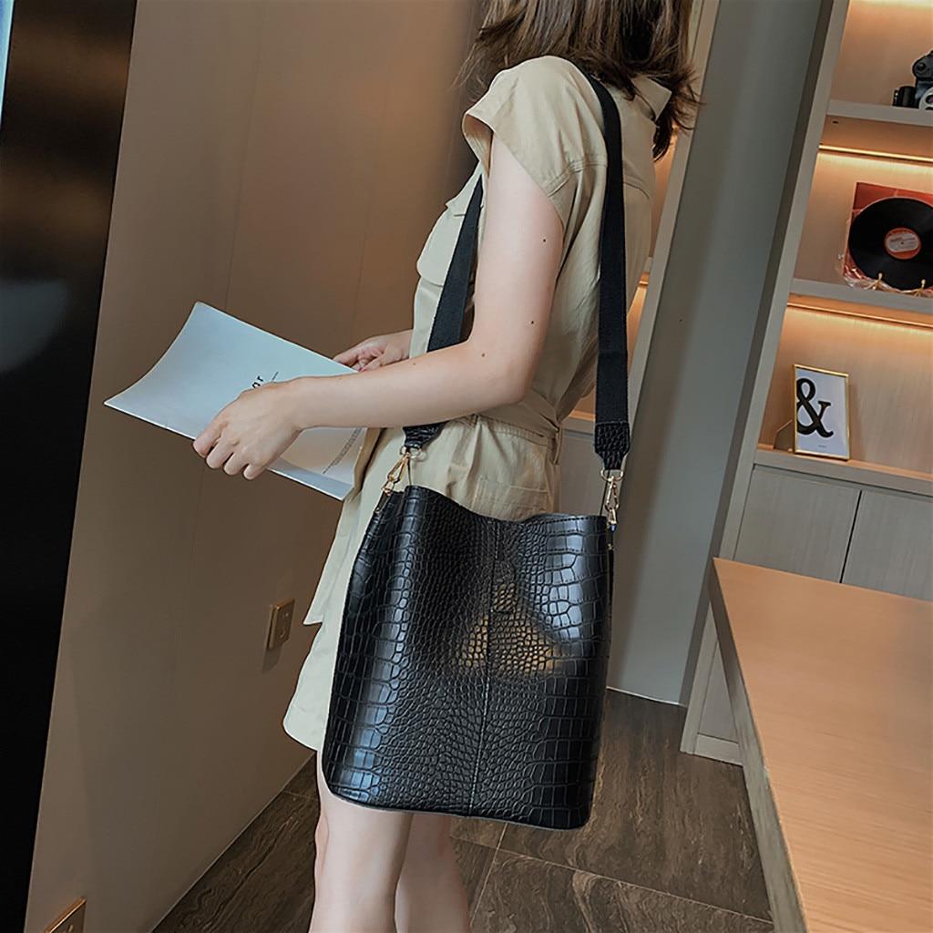 Women's Fashion Stone Hasp Pure-Colour Retro Casual soild color Shoulder Bag Bucket Bag Vintage Simp
