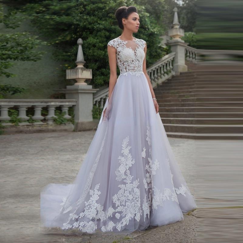 Get A-Line Boho Appliques Wedding Dress 2021 O-Neck Sleeveless Buttons Back Court Train Long Bridal Gown Vestido De Noiva Customize