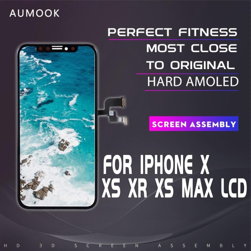 Pantalla OLED para iPhone x, pantalla lcd táctil, montaje del digitalizador con 3D táctil, sin píxeles muertos para iPhone X XS MAX XR LCD