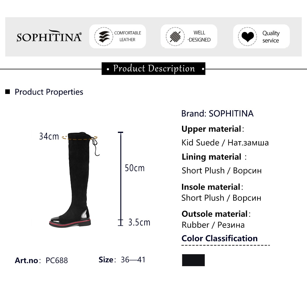 SOPHITINA Thigh High Women's Boots Comfort Kid Suede with Warm Short Plush Black Fashion Outdoor Winter Casual Dress Shoes PC688
