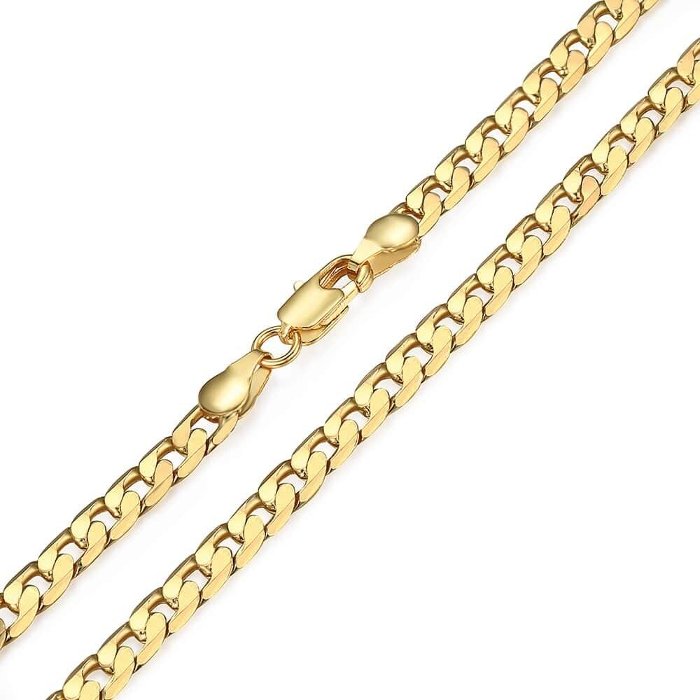 5mm hommes femmes collier chaîne coupe plat bordure cubaine lien 585 Rose jaune or rempli collier GNM89