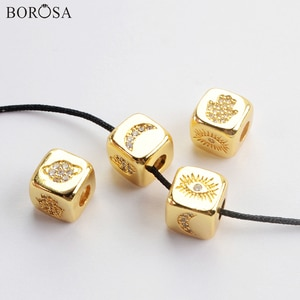 BOROSA Moon Pattern CZ Micro Pave Different Patterns Metal Beads for Jewelry Making Square Shape Gold Beads for Bracelets WX1338