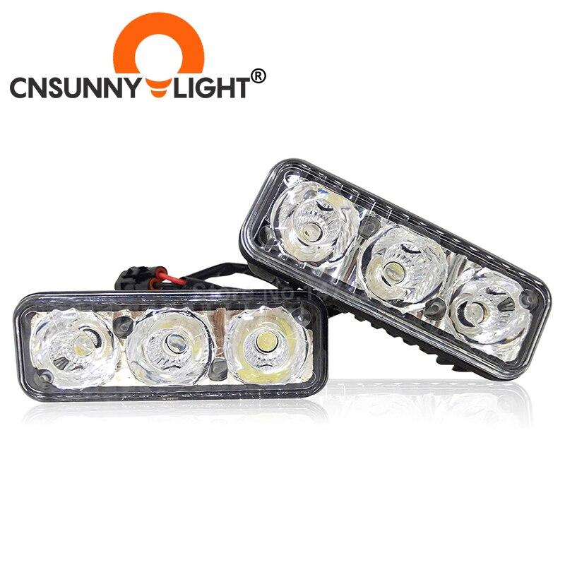 CNSUNNYLIGHT de alta potencia coche DRL aluminio 3 LED luces de circulación diurna con lente proyector DC 12V blanco rojo amarillo azul niebla lámparas