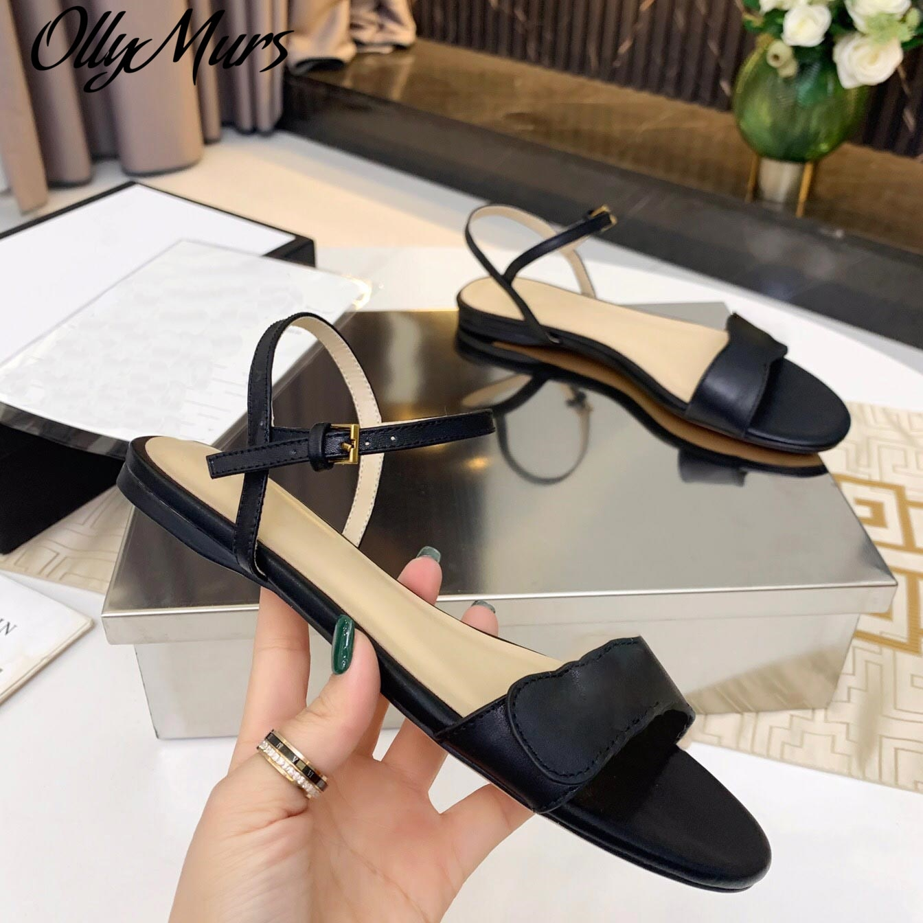 Ollymurs جديد الصيف المفتوحة تو صنادل ماركة فاخرة الكاحل حزام الشقق السروج أحذية النساء Zapatos Mujer