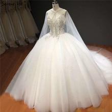 White Sleeveless Shawl Yarn Sparkle Wedding Dresses High-end Diamond Beading Sexy Bridal Gowns HA2272 Custom Made