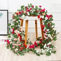 69 heads 1 85m rose vine flowers garland plant artificial flower hanging rose for diy home hotel and wedding party