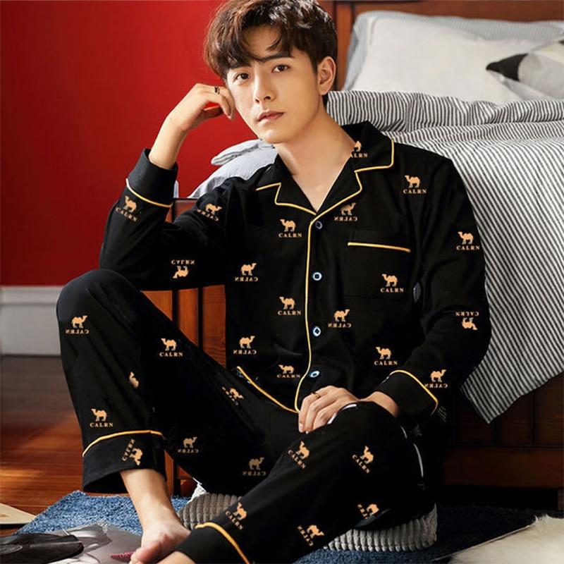 Мужчины% 27 пижамы комплекты весна лето мужские пижамы комплект простые одежда для сна длинный рукав хлопок пижамы для мужчин топ брюки досуг верхняя одежда