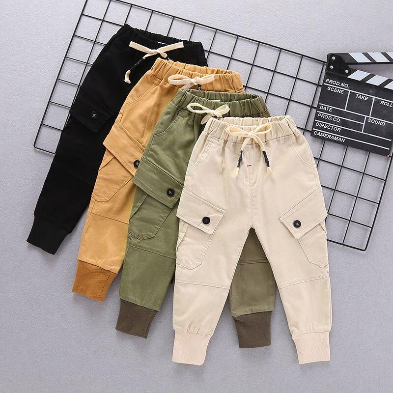 Bébé garçons pantalons 0-5 ans grande poche couture lettres printemps et automne enfants mode salopette coton pantalon tout-match