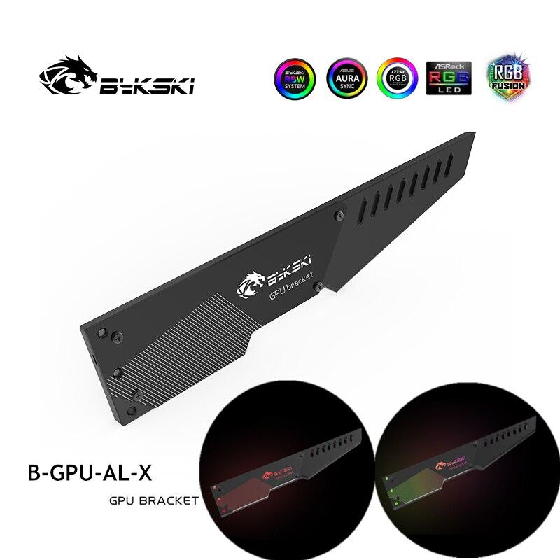 Bykski vga suporte de alumínio 5v ou 12v rgb lâmpada crença placa gráfica companheiro suporte lâmina gpu titular B-GPU-AL-X