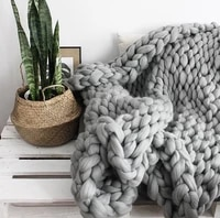fashion blanket artificial wool blanket thick big yarn roving knitted blanket warm throw blankets sofa cover plaid on the bed