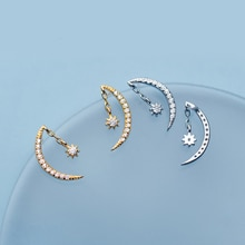 MloveAcc Genuine 925 Sterling Silver Sweet Chain Moon Star Dazzling CZ Stud Earring Love Gift for Wo