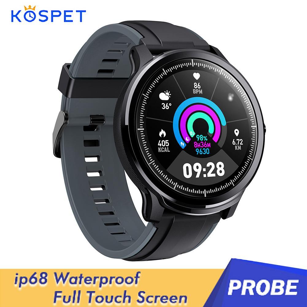 [해외] KOSPET-프로브 스마트 워치 IP68 방수 수면 심박수 피트니스 트래커 스포츠 팔찌 터치 스크린 안드로이드 ios용 Smartwatch