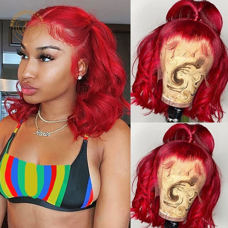 Red Bob Lace Frontal Wigs Yellow 99j Burgundy Wavy Curly 13X4 Lace Front Wig Full Density Colored Human Hair Wigs Closure Wigs