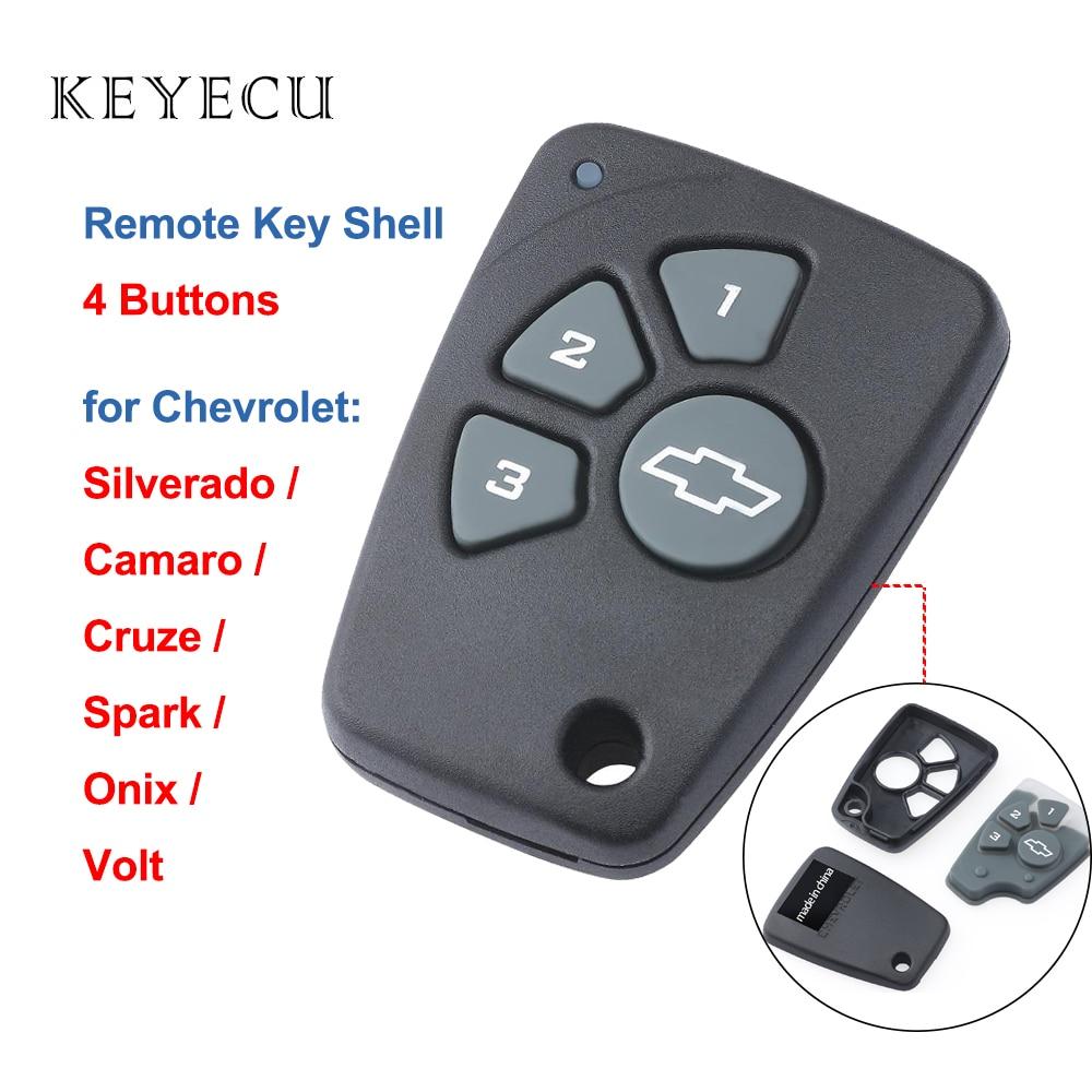 Keyecu Keyless Entry Remote Key Shell Case Cover 4 Buttons for Chevrolet Cruze Spark Onix Silverado Volt Camaro Aveo Sonic