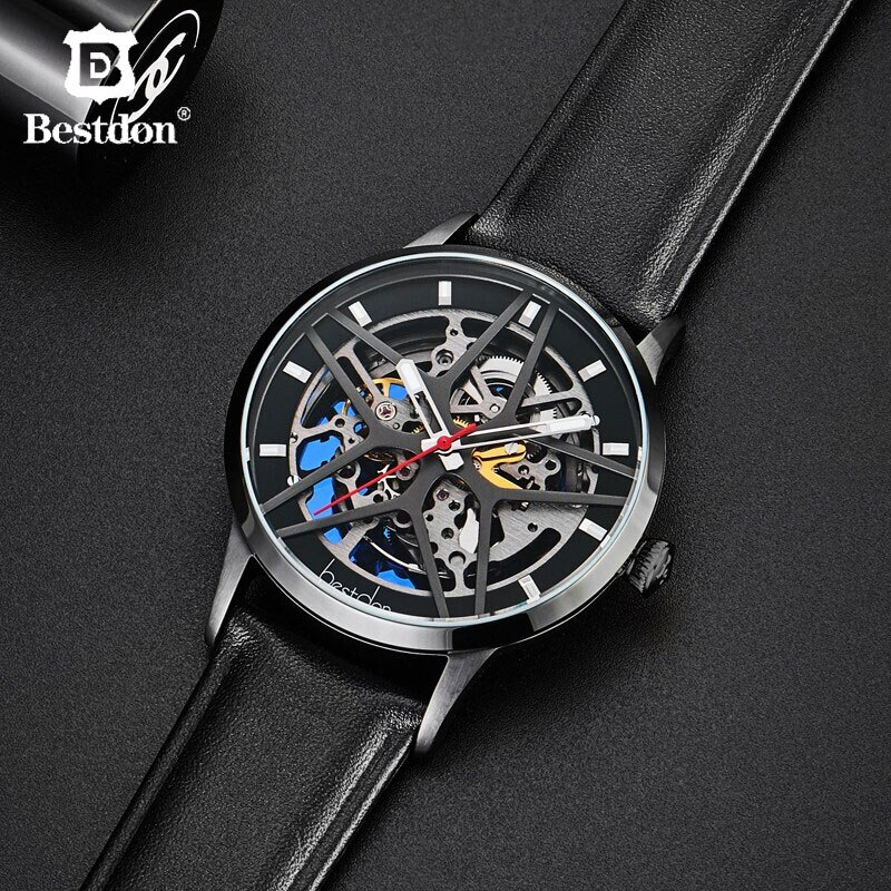 Bestdon Creative Men's Watch Automatic Mechanical  Sport Skeleton Watches Fashion Luxury Brand Full Steel Clocks Man Relogio