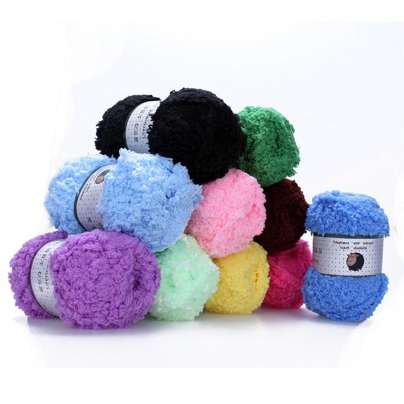 Hilo de ganchillo DIY, hilo de Cachemira suave, cálido, para bebé, suministros de tejer a mano, lana Coral, Cachemira, felpa