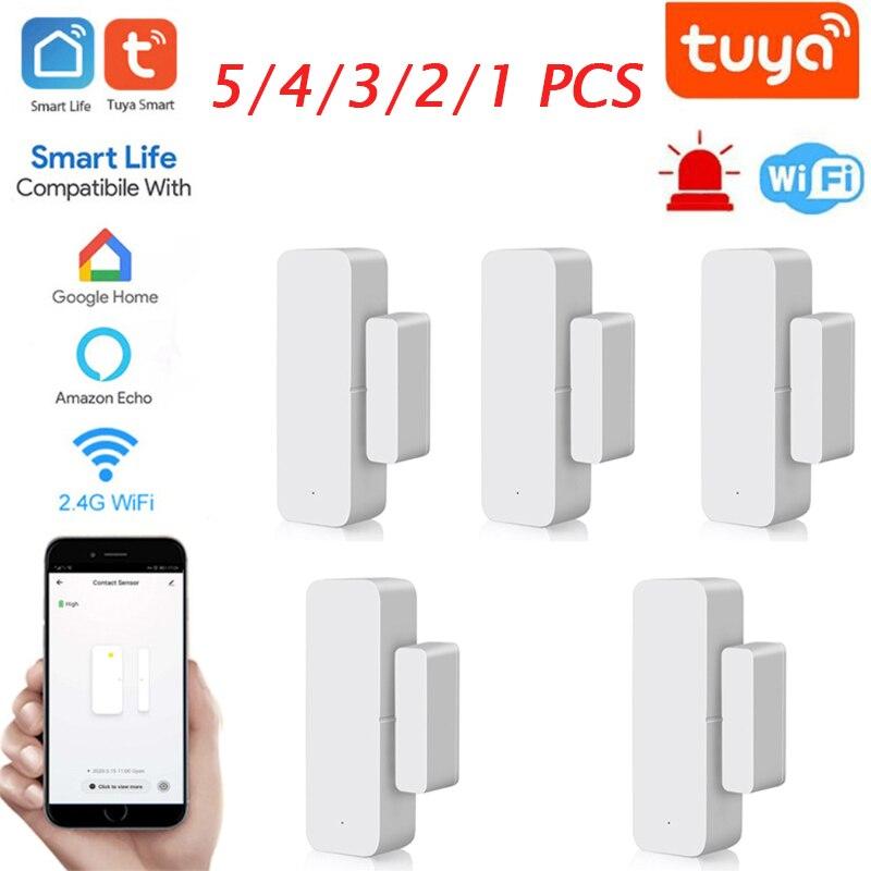 Смарт-детекторы открытия/закрытия двери Tuya, Wi-Fi, домашняя сигнализация, совместима с приложением Alexa Google Home Tuya Smart Life смарт детекторы открытия закрытия дверей с приложением smart life и поддержкой wi fi
