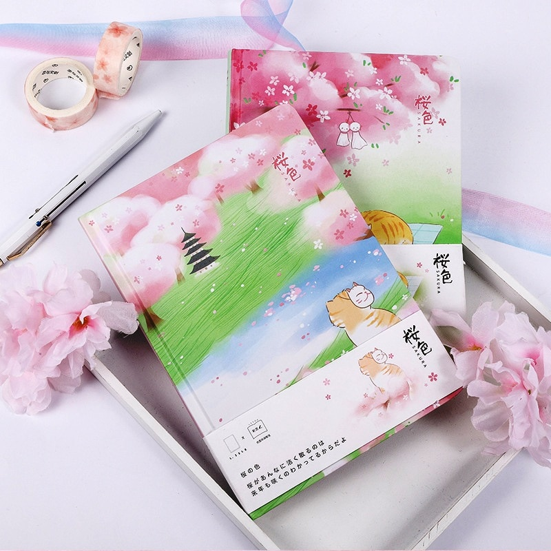"Diario de tapa dura ""Summer Cat"", precioso cuaderno para niñas, cuaderno de dibujo"