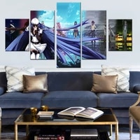 5 pieces wall art canvas painting animated character poster modern living room bedroom home decoration framework pictures