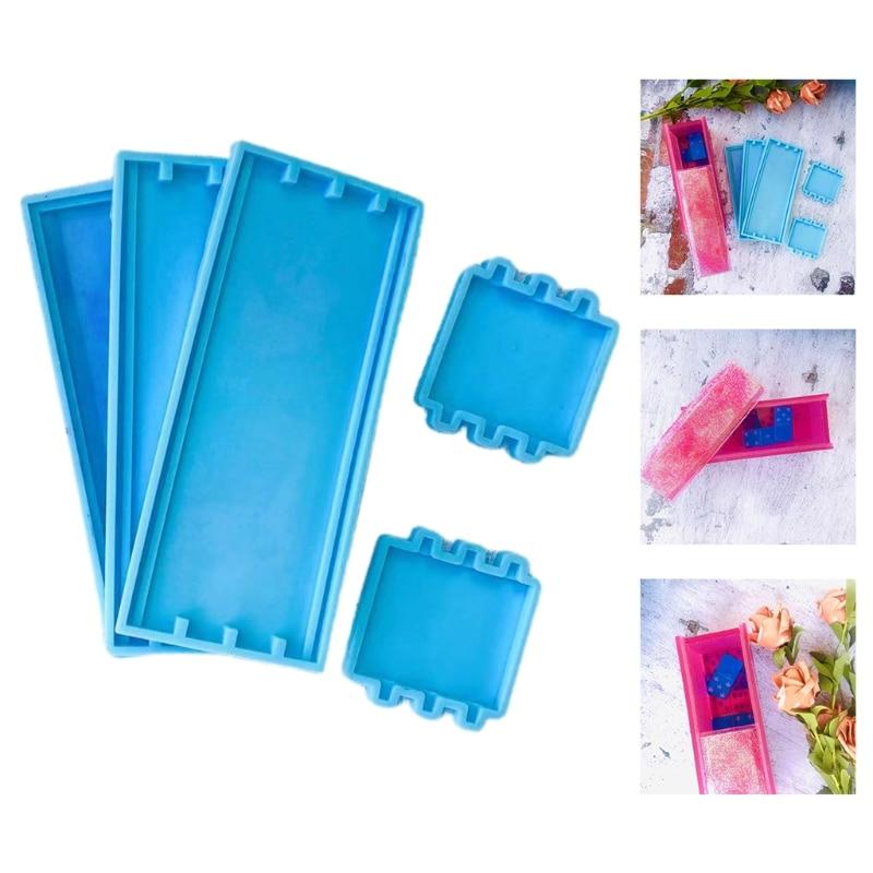 1 Set DIY Crafts Domino Storage Box Epoxy Resin Mold Container Silicone Mould R2LE