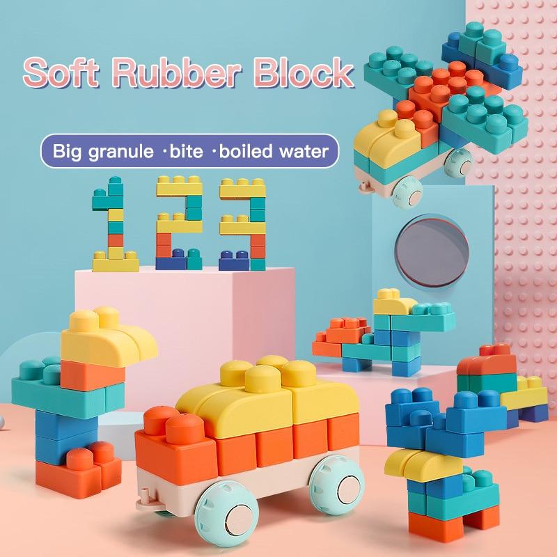 Weiche Gummi Blöcke Bausteine Gekocht Kauen Zähne Gum Blöcke kinder Pädagogisches Aufklärung Spielzeug Babys Gummi Beißring
