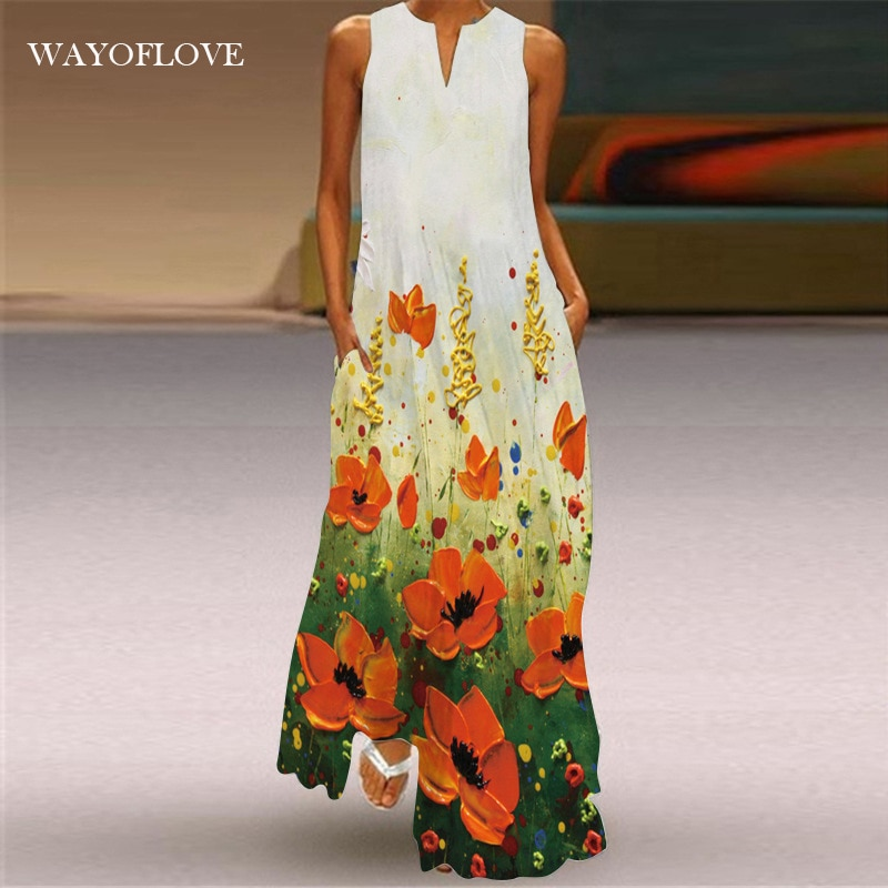 WAYOFLOVE Fashion Girl Sleeveless Dress 2021 Robe Holiday Beach Casual Plus Size Long Dresses Summer