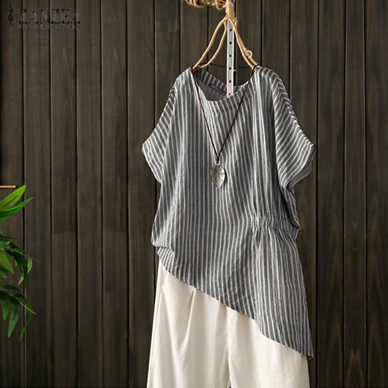 Camisas Elegante a rayas de verano para mujer, blusa ZANZEA 2020, blusas asimétricas informales para mujer, blusas con cintura elástica para mujer, Túnica de talla grande