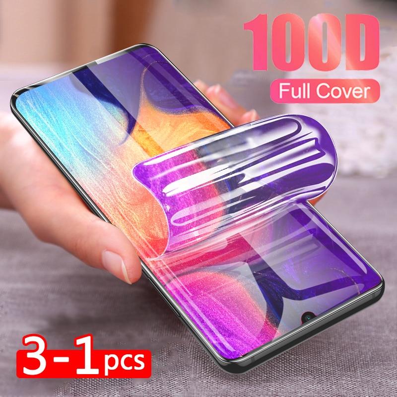 3-1 Pcs 100D Full Hydrogel Film For Samsung Galaxy S9 S10 S8 Plus S10 E Note 8 9 10 Pro S7 EDGE Soft