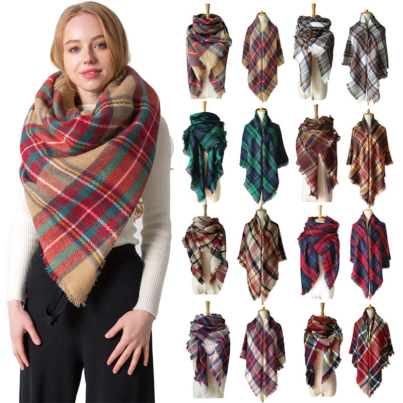 Factory Direct Sales Autumn and Winter Imitation Cashmere Big Size Double-sided Colorful Plaid Scarf Lady Shawl Fashion