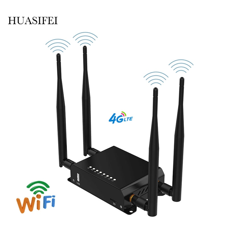 Фото - HUASIFEI  4G Router LTE Modem Wireless WIFI With SIM Card Slot Wi-Fi Openwrt English Firmware LTE Router VPN PPTP L2TP huasifei 4g dual card multi mode intelligent 1200m 3g4g lte dual sim card router openwrt l2tp router wifi modem router with sim
