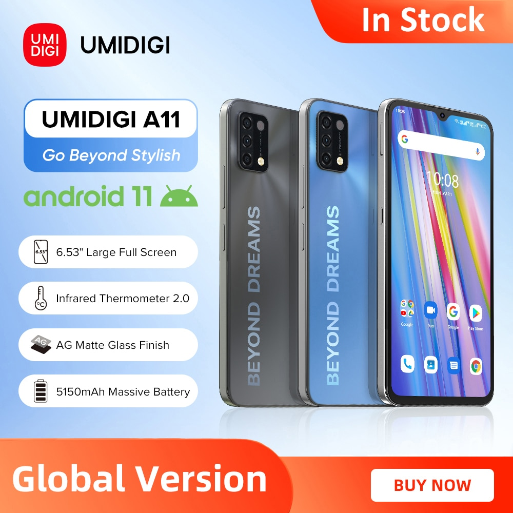 [In Stock] UMIDIGI A11 Global Version Android 11 Smartphone Helio G25 64GB 128GB 6.53'' HD+ 16MP Triple Camera 5150mAh Cellphone