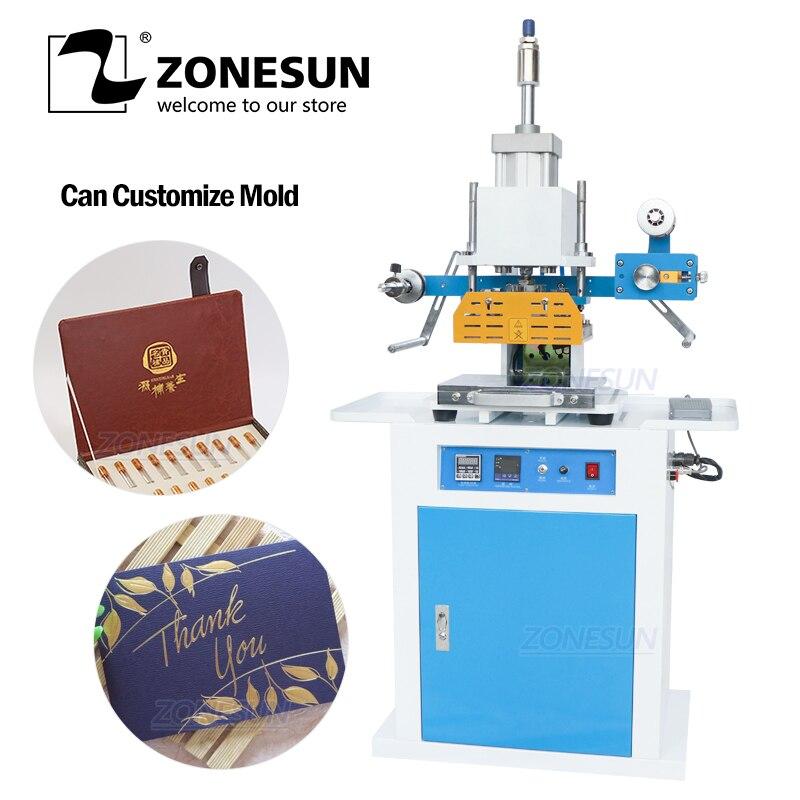 ZONESUN ZSP-890C 150x230mm máquina de estampación en caliente neumática de cuero con LOGO en relieve Máquina de plegado cosméticos