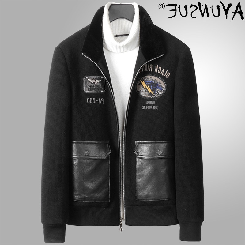 Wool Real Fur Jacket Men Clothing Winter Man Jackets Casual Zipper Embroidered Clothes Rabbit Fur Co