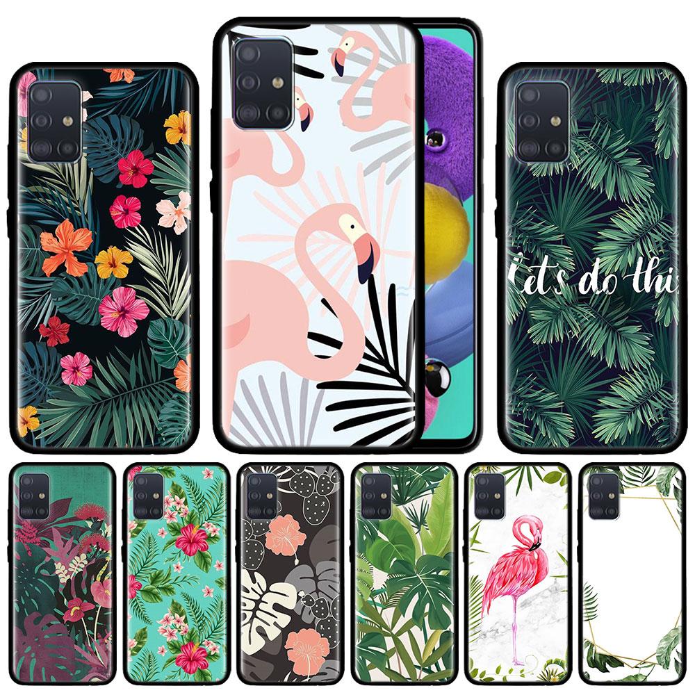Palm tree Leaves Plant Flower Case For Samsung Galaxy A51 A71 A01 A81 A91 A50 A70 A70s M31 Black Silicone Phone Cover Fundas
