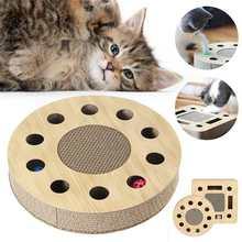 Juguetes de cartón de almohadilla de rascar para gatos, papel corrugado, placa de rascar para mascotas, con bola redonda incorporada para proteger los muebles