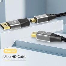 Câble Mini DP vers Mini DP 8K, 8K(76804320)@ 60Hz, 4K @ 120Hz, avec connecteur Mini DP femelle vers DP mâle DisplayPort 1.4 DP vers Mini DP 2M