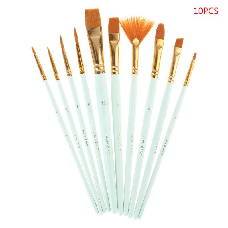 10Pcs Paint Brushes Set Nylon Hair Painting Brush Oil Acrylic Watercolor Pen Art enlarge