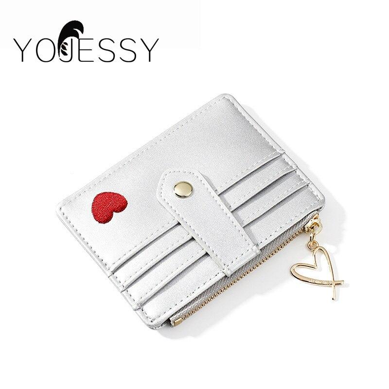 YOJESSY Women Wallet Female Short Wallets Clutch Silver Lady Purse Zipper Coin Pocket Card Holder Ladies Purse